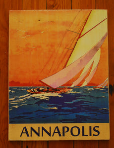 "Wood Art ""Annapolis at Sunset with Sailboat"" - Annapolis Maritime Antiques"