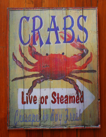 "Wood Art ""Chesapeake Bay Crabs, Live or Steamed"" - Annapolis Maritime Antiques"