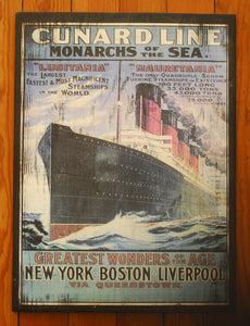 "Wood Art ""Cunard Line Travel Poster"" - Annapolis Maritime Antiques"