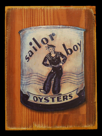 "Wood Art ""Sailor Boy Oysters Can"" - Annapolis Maritime Antiques"