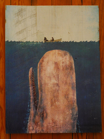 "Wood Art, ""Whale with Fishermen & Skiff"" - Annapolis Maritime Antiques"