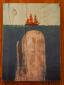 "Wood Art, ""Whale with Frigate"" - Annapolis Maritime Antiques"