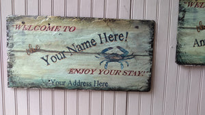 Sign, Slate, with blue crab, personalized - Annapolis Maritime Antiques