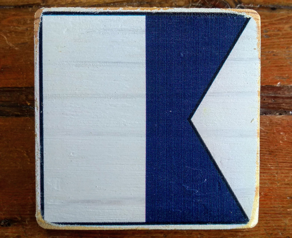 Coasters custom made signal flags alphabet wood w cork base annapolis maritime