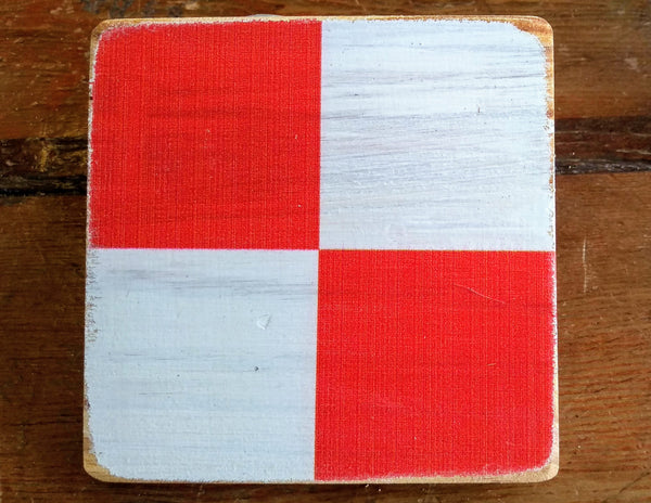 Coasters Custom Made Signal Flags - Alphabet, wood w/cork base - Annapolis Maritime Antiques