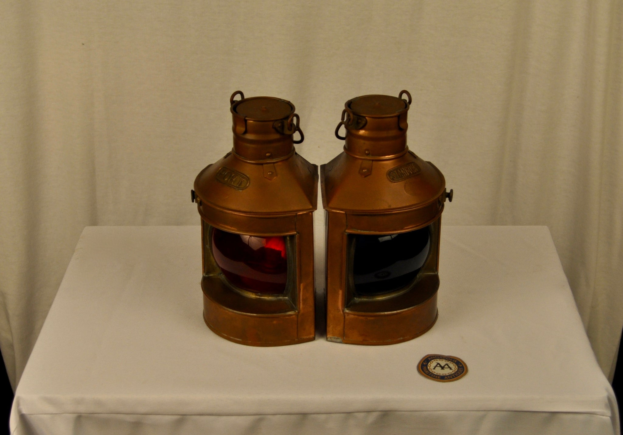 Lanterns, Port and Starboard, Rounded Glass, Pair, Tung Woo