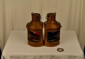 Lanterns, Port and Starboard, Rounded Glass, Pair, Tung Woo - Annapolis Maritime Antiques