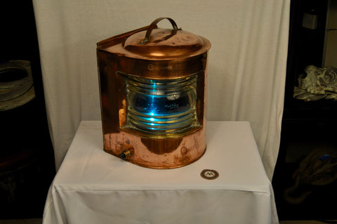 "Starboard Running Light, Brass, 14"" H X 10"" W, circa WWII - Annapolis Maritime Antiques"