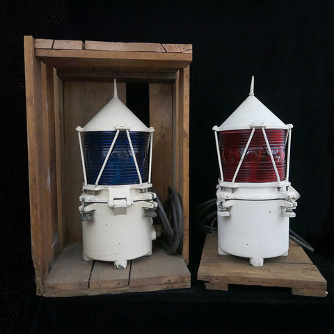 Pair of red and blue Coast Guard bridge lights