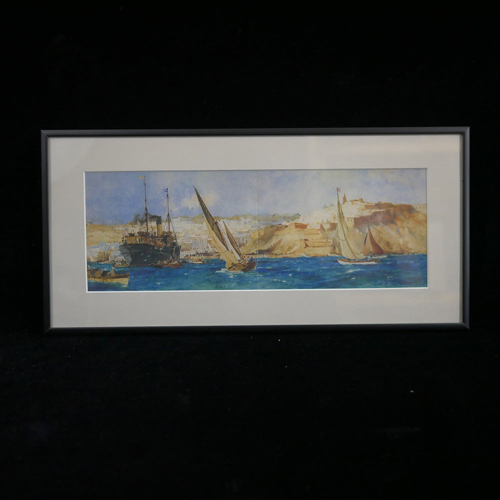 """Tangier"" - Giclee print depicting sailboats off the coast of the Moroccan port city of Tangier in a black frame."