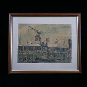 Watercolor depicting the SS Leviathan docked in Hoboken, New Jersey. Painted and signed by the artist in 1929