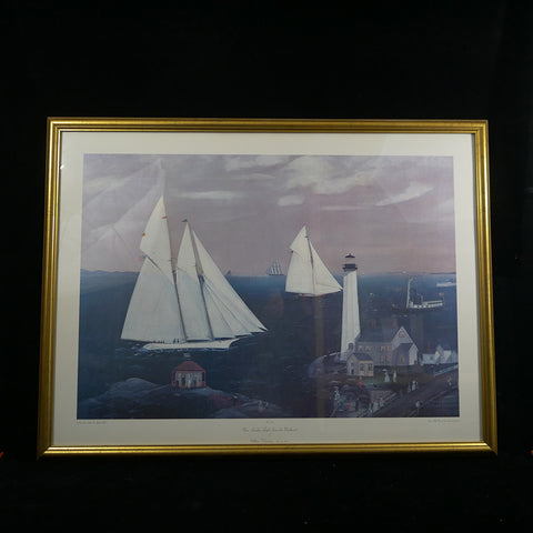 """New London Light from the Northeast"" Oil on canvas print by William J. Gooding depicts sailboats on the water."