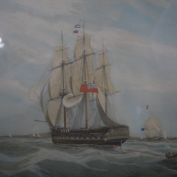 H. C. S. Macqueen off the Start, 26th January 1832 painting by W. J. Huggins depicts H. C. S. Macqueen East India Company sailboat is seen heading out to sea amongst several other smaller vessels.