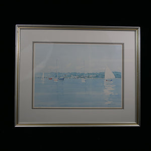 """Padanaram HBR"" is a watercolor print number 211/300 by Norman Fortier showing the Padanaram harbor."