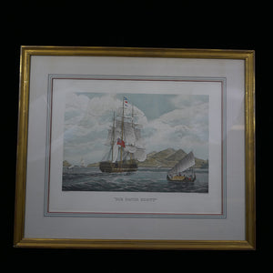 The print depicts the H.C.S. ship Sir David Scott Captn D.I. Ward at the Entrance of the Sunda Strait in February 1830.