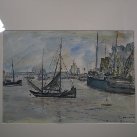 """Le Havre"" - Watercolor and charcoal print depicting sailboats leaving a seaside port town."