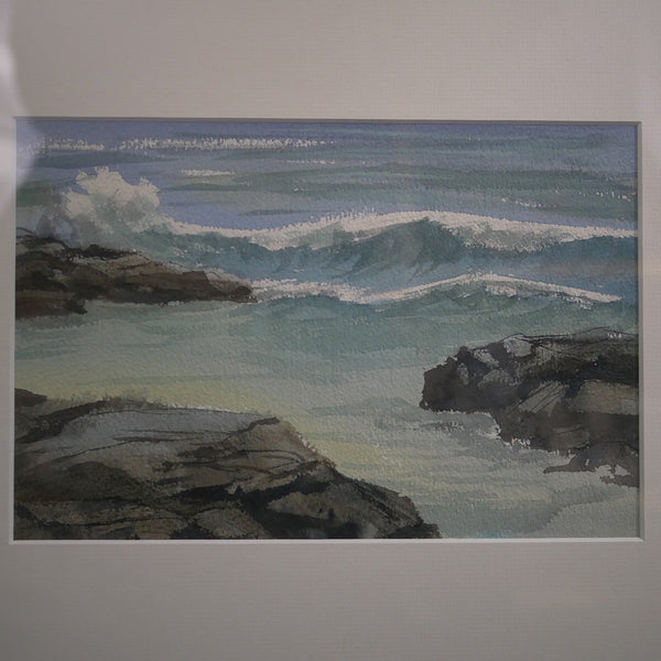 Closeup of the oil on canvas painting depicting waves crashing on rocks.