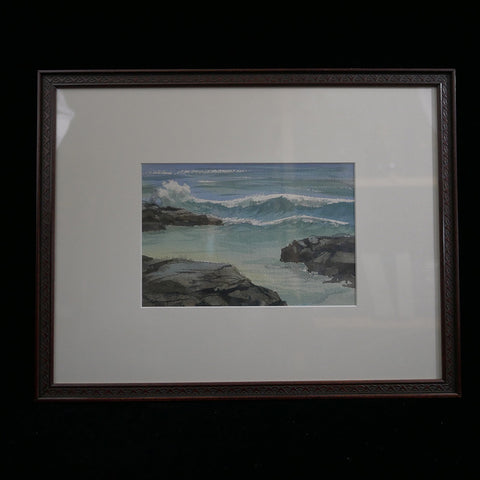 Oil on canvas painting depicting waves crashing on rocks.