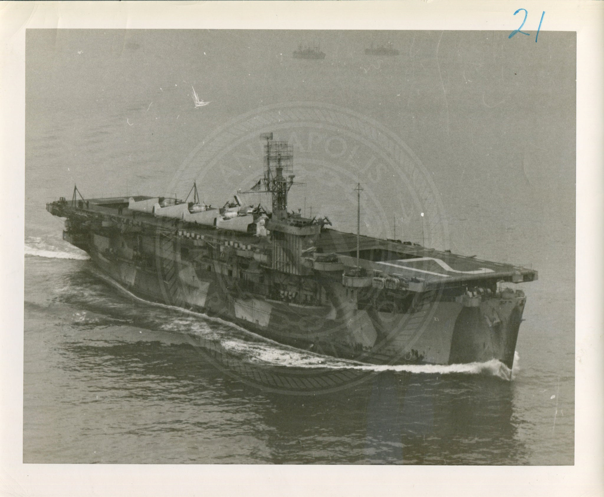 Official Navy Photo of WWII era USS Block Island (CVE-21) Aircraft Carrier - Annapolis Maritime Antiques