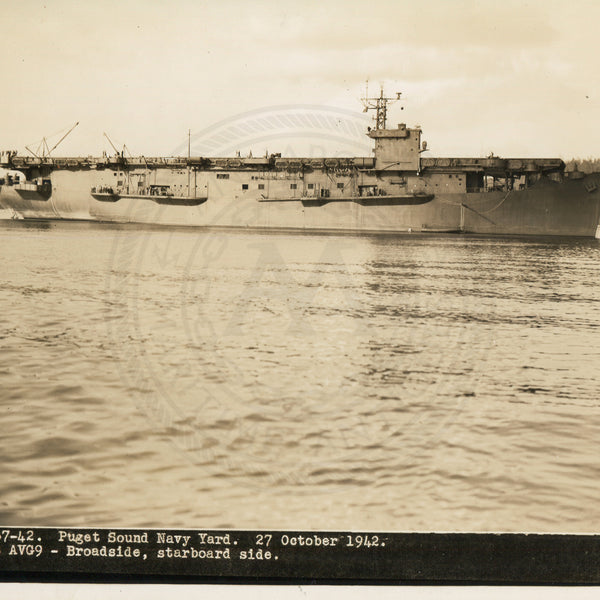 Official Navy Photo of WWII era USS Bogue (CVE-9) Aircraft Carrier - Annapolis Maritime Antiques
