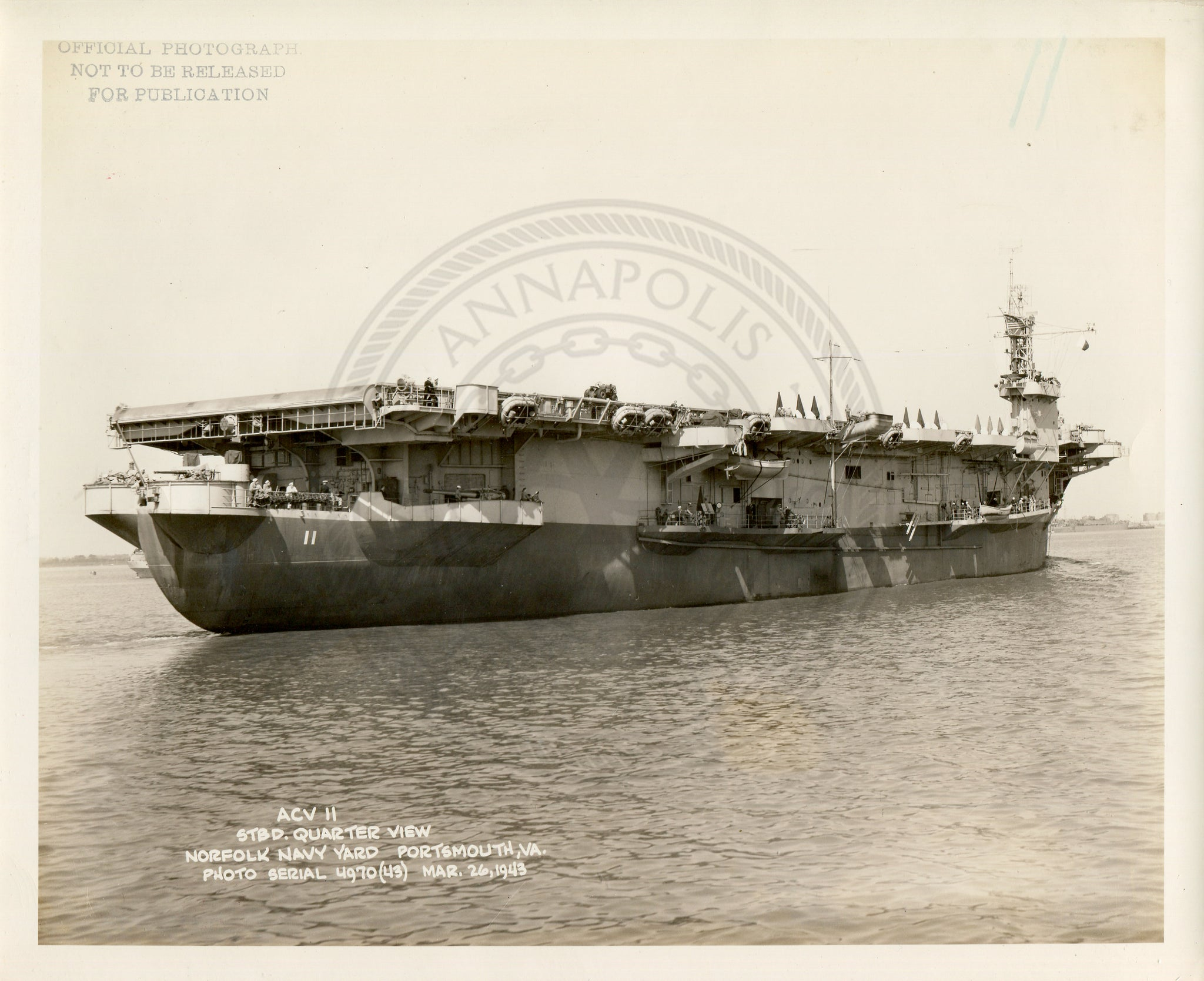 Official Navy Photo of WWII era USS CARD (CVE-11) Aircraft Carrier - Annapolis Maritime Antiques