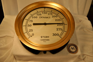 Gauge, Steam, WWI era, Brass - Annapolis Maritime Antiques