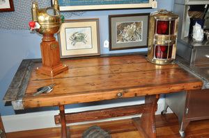 "Desk, Hatch Cover With Steel Combing On Three Sides, 56"" X 30"" - Annapolis Maritime Antiques"