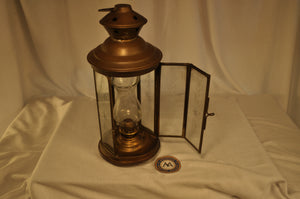 Lantern, Oil, Glass Chimney, Engraved Glass
