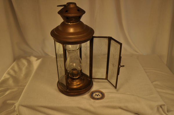 Lantern, Oil, Glass Chimney, Engraved Glass - Annapolis Maritime Antiques
