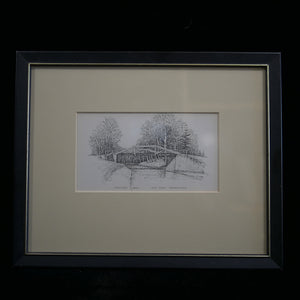 Antique pen and ink scene of bridge over the Delaware canal. Sketch framed in black frame.