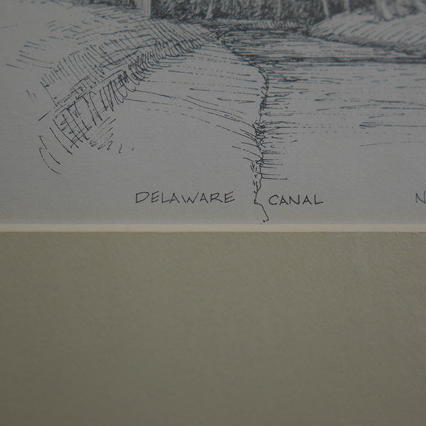 "Closeup of title ""Delaware Canal"""