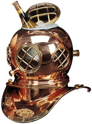 Diving Helmet Ice Bucket, Solid Brass and Copper