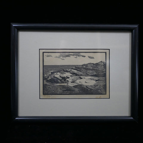 Signed antique pen and ink sketch of bluffs overlooking Halibut Point by Massachusetts artist Addison B. LeBoutillier (A BLeB)