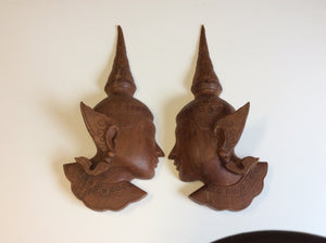 Thai carved heads, vintage 1940, mahogany wood set of two - Annapolis Maritime Antiques