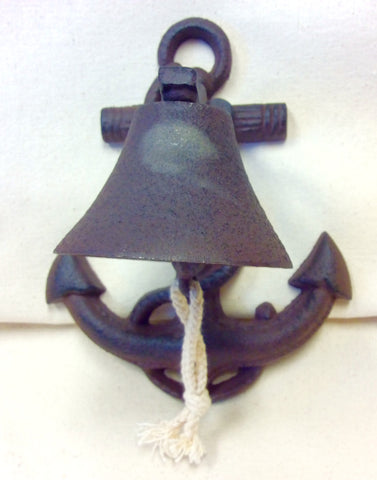 Bell, Anchor, Cast Iron with Hand Tied Pull - Annapolis Maritime Antiques