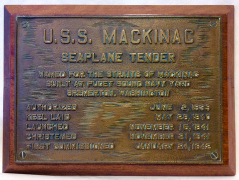 Builders Plate, USS Mackinac WAVP-371, USCG Cutter WHEC-371 - Annapolis Maritime Antiques