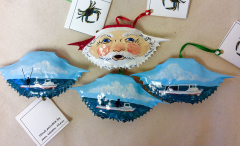 Ornament, Crab Shell, Santa/Workboat - Annapolis Maritime Antiques