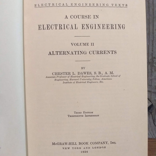 "Book; ""A course in Electrical Engineering"" Vol II, Alternating Currents - Annapolis Maritime Antiques"