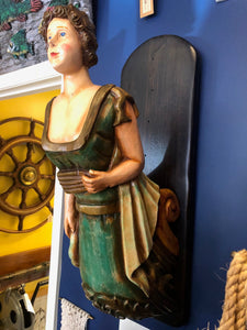 Figurehead, circa late 1800's.  Excellent condition. solid mahogany, mounted on period wood, very rare find. - Annapolis Maritime Antiques