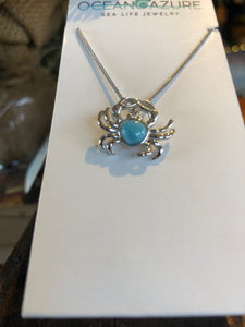Necklace, Crab Pendant, Sterling with Larimar Stone.
