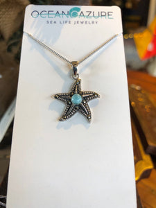 Necklace, Starfish, Sterling Silver with Larimar Stone