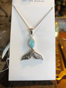 Necklace, Whale Tail Pendant, Sterling Silver with Larimar Stone