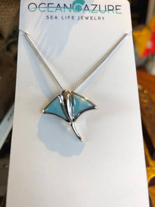 Necklace, Sting Ray Pendant, Stering Silver