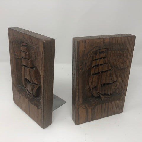 Bookends, Wooden Engraved, Clipper Ship,