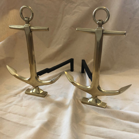 Andirons, Brass with Cast Iron Runners, circa 1800's