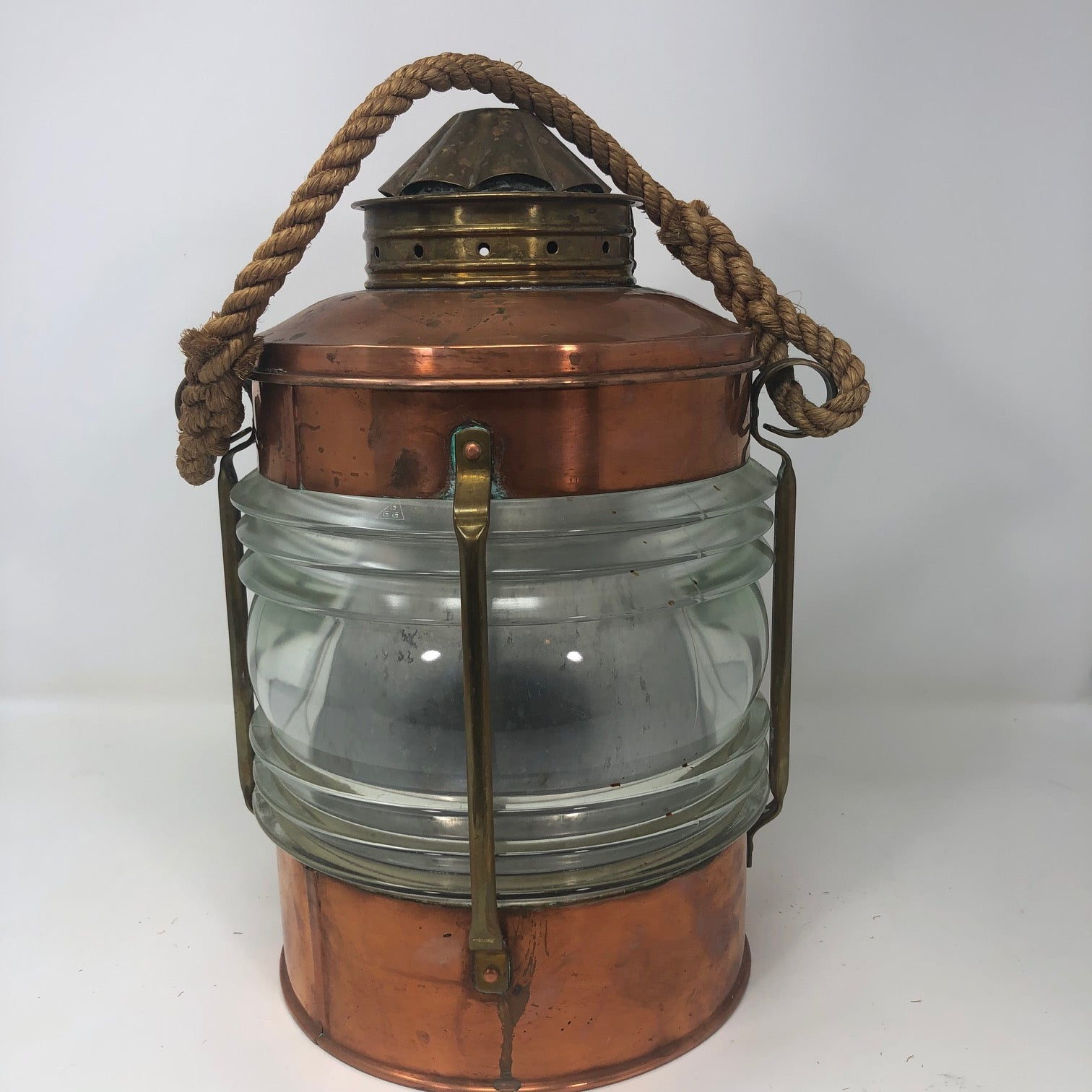 Ice Bucket, Fresnel Glass Lens and Copper with Manila Line Handle