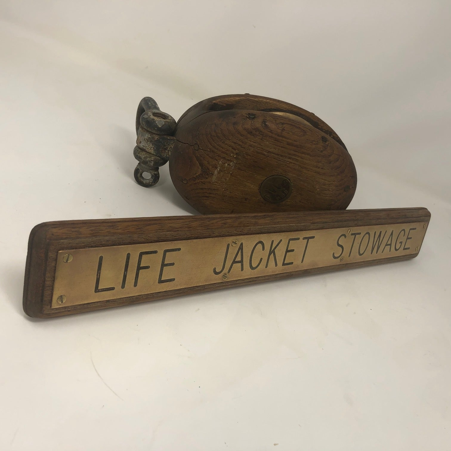 "Sign, ""Life Jacket Stowage"", Bass on Mahogany"