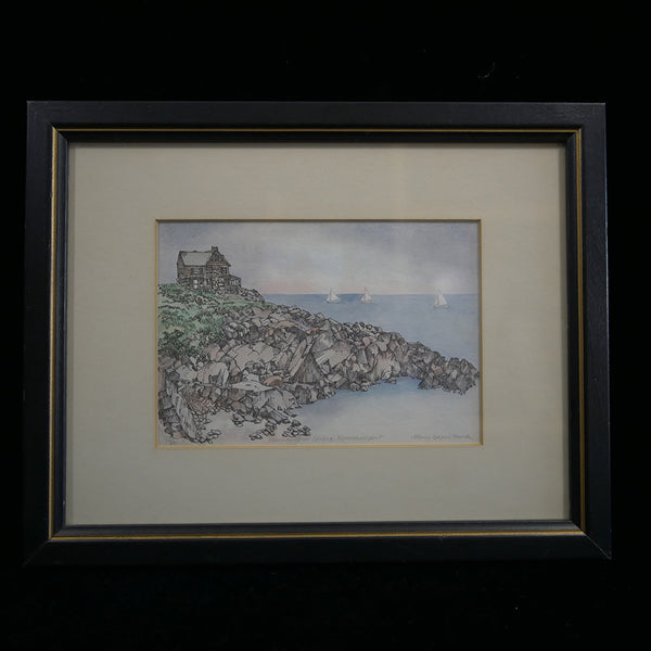 Pen and ink with watercolor scene of house overlooking sailboats by Nancy Cooper Funk. Serial #123/300 prints.