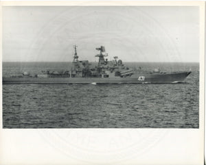 Official U.S. Navy photo of a Soviet Kashin class guided missile destroyer. - Annapolis Maritime Antiques