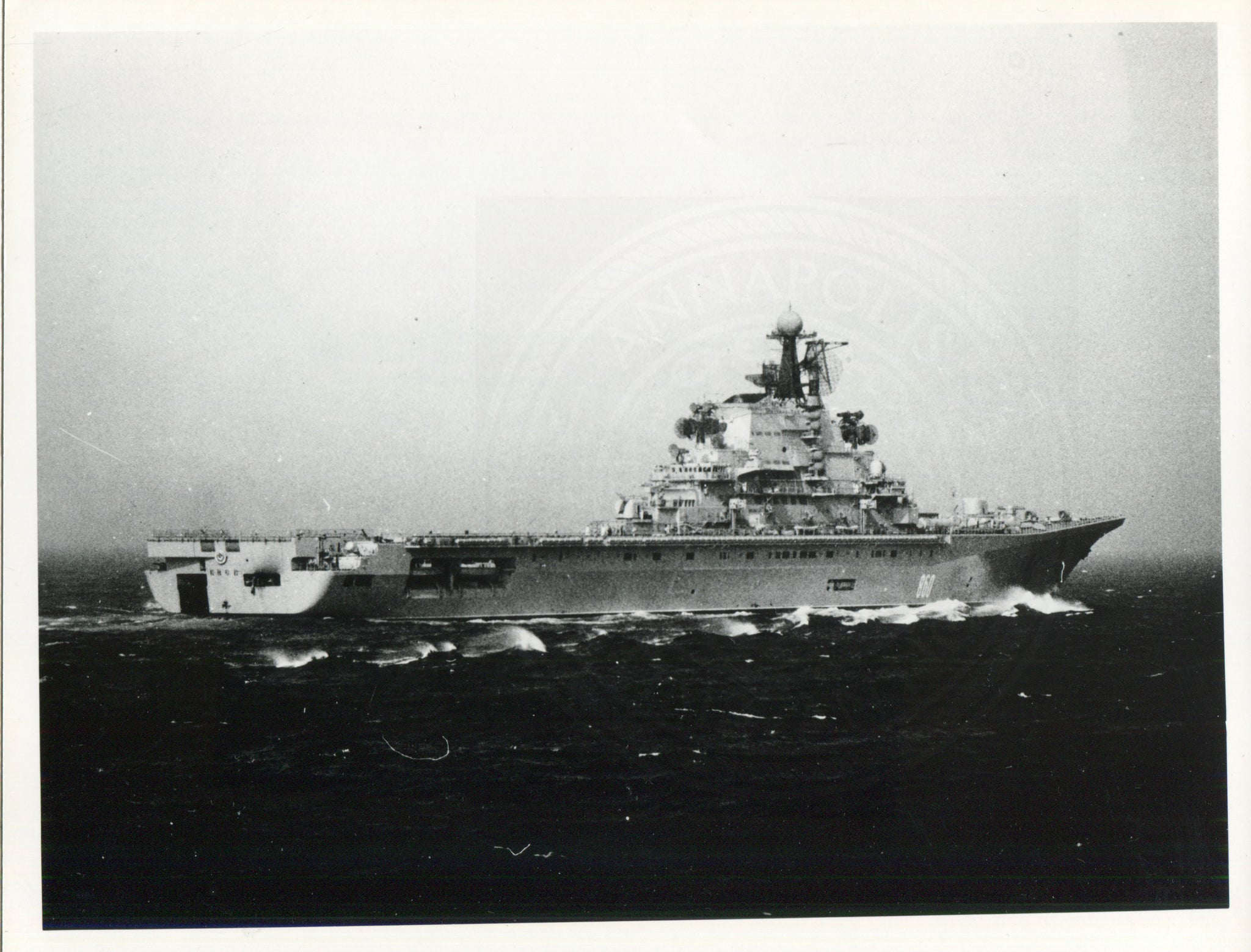 Official U.S. Navy photo of Soviet aircraft carrier Kiev underway. - Annapolis Maritime Antiques